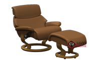 Dream Large Recliner and Ottoman by Stressless in Paloma Brandy Leather (formerly Spirit)