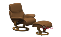 Dream Medium Recliner and Ottoman by Stressless in Paloma Brandy Leather