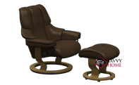 Reno Small Recliner and Ottoman by Stressless in Paloma Chocolate Leather