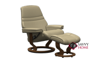 Sunrise Small Recliner and Ottoman by Stressless in Paloma Sand