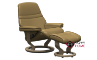 Sunrise Large Recliner and Ottoman by Stressless in Paloma Taupe