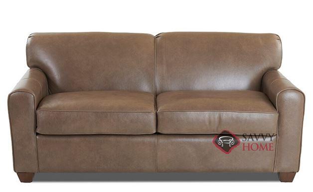 Zurich Full Leather Sleeper Sofa in Abilene Smoke by Savvy