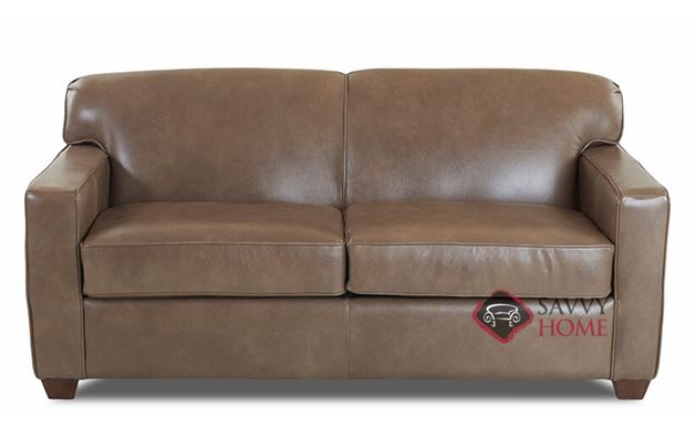 Geneva Full Leather Sleeper Sofa by Savvy in Abilene Smoke