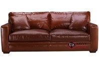 Houston Queen Leather Sofa Bed with Down-Blend Cushions by Savvy