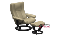 Wing Large Recliner and Ottoman by Stressless - 3 Base Options