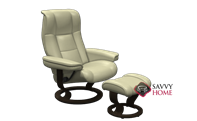Mayfair Small Recliner and Ottoman by Stressless in Paloma Kitt Leather (formerly Chelsea)