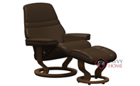 Sunrise Large Recliner and Ottoman by Stressless in Paloma Chocolate Leather