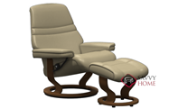 Sunrise Large Recliner and Ottoman by Stressless in Paloma Sand Leather