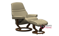 Sunrise Medium Recliner and Ottoman by Stressless in Paloma Sand Leather