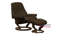 Sunrise Medium Recliner and Ottoman by Stressless in Paloma Chocolate Leather