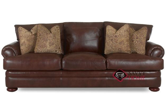 Montezuma Leather Sofa with Down-Blend Cushions by Klaussner