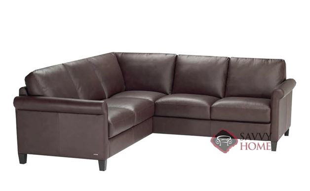 B580 Compact Sectional Sofa shown in Belfast Dark Brown