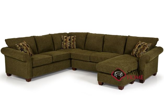 The 664 True Sectional Sofa with Chaise in Longbranch Verde (RAF)