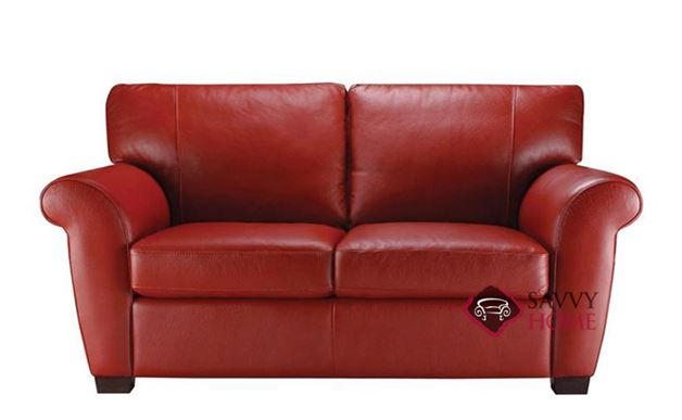 A121 Natuzzi Leather Loveseat shown in Belfast Red