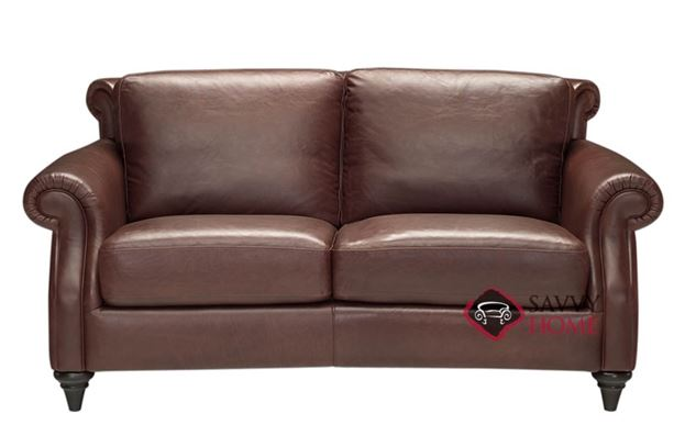 A297 Leather Loveseat by Natuzzi shown in Matera Mahogany