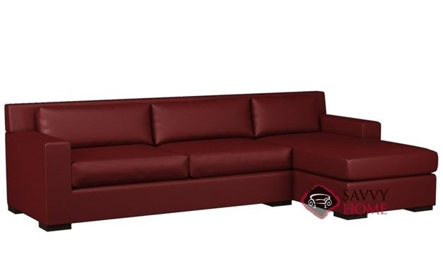 Corvo Leather Chaise Sectional with 2-Cushion Queen Sleeper by Lazar Industries