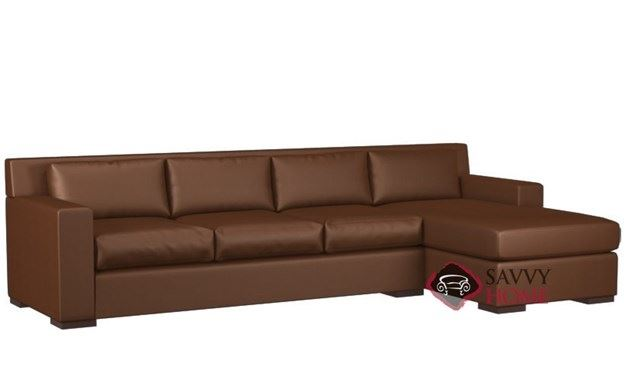 Corvo Leather Chaise Sectional with 3-Cushion Queen Sleeper by Lazar Industries
