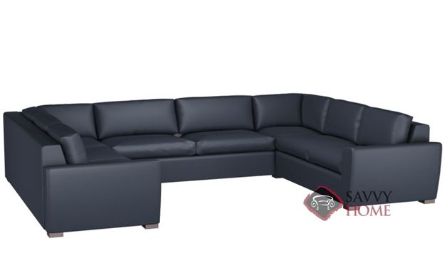 Geo U-Shape Leather True Sectional with 2-Cushion Condo Sofa by Lazar Industries