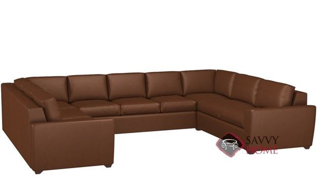 Geo U-Shape Leather True Sectional with 3-Cushion Queen Sleeper by Lazar Industries