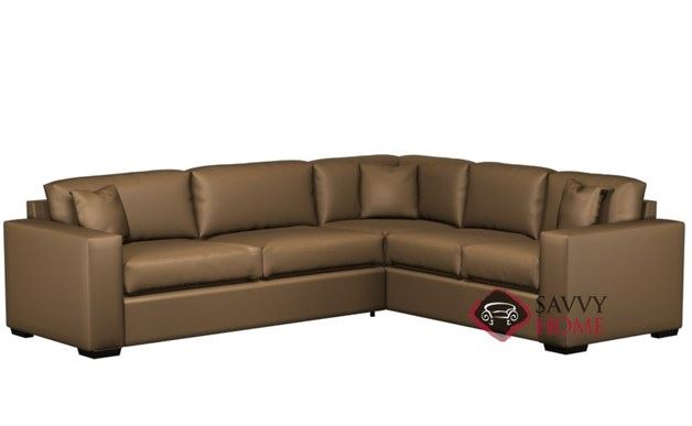 Sutton Place II Leather True Sectional with 2-Cushion Queen Sleeper by Lazar Industries