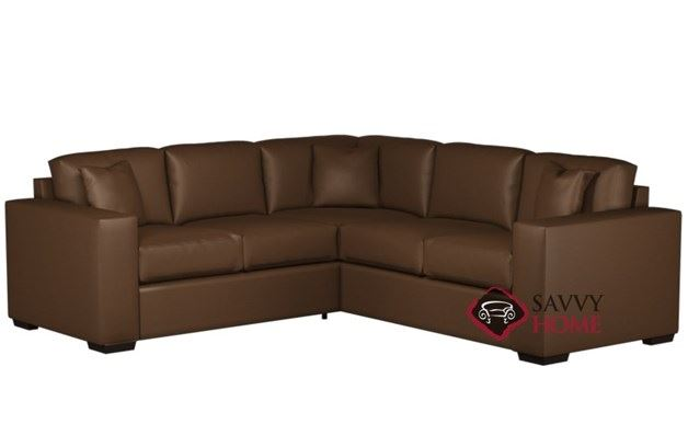 Sutton Place Leather True Sectional with 2-Cushion Twin Sleeper by Lazar Industries