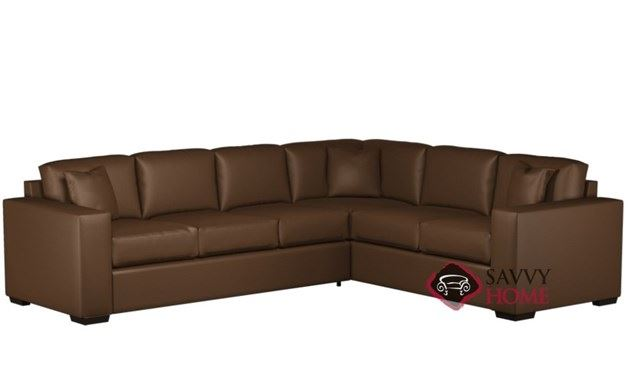 Sutton Place Leather True Sectional with 3-Cushion Queen Sleeper by Lazar Industries