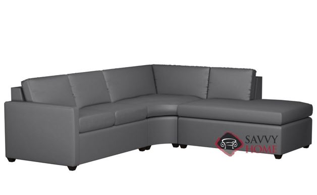 Terra Leather Chaise Sectional with 2-Cushion Condo Sofa by Lazar Industries