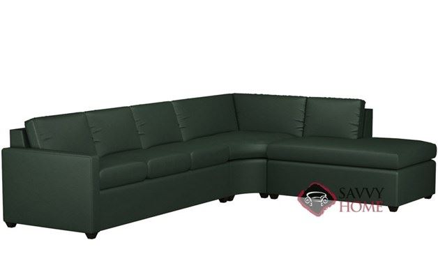 Terra Leather Chaise Sectional with 3-Cushion Queen Sleeper by Lazar Industries