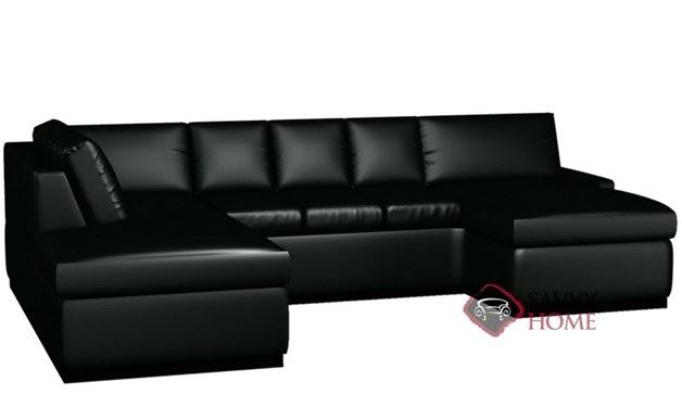 Terra Leather U-Shape Sectional with 3-Cushion Queen Sleeper by Lazar Industries