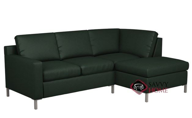 Soho Leather Chaise Sectional with 2-Cushion Twin Sleeper by Lazar Industries