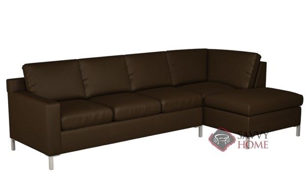 Soho Leather Chaise Sectional with 3-Cushion Queen Sleeper by Lazar Industries