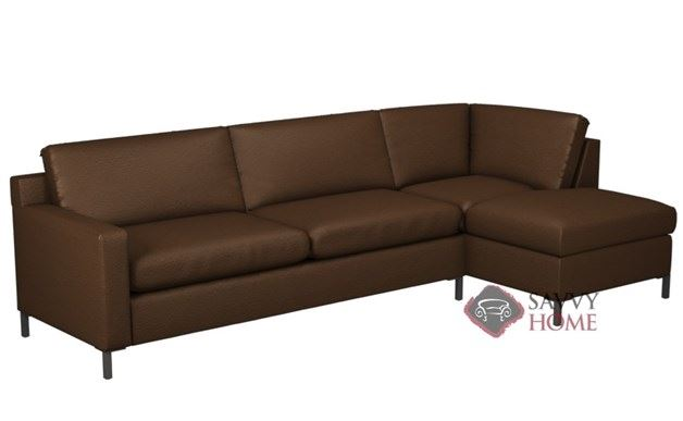 Soho II Leather Chaise Sectional with 2-Cushion Queen Sleeper by Lazar Industries