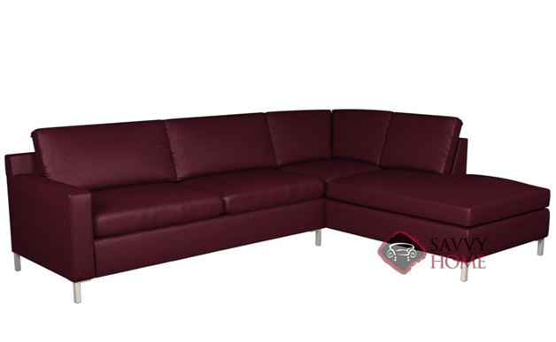 Soho II Leather Loveseat Chaise Sectional with 2-Cushion Sofa by Lazar Industries