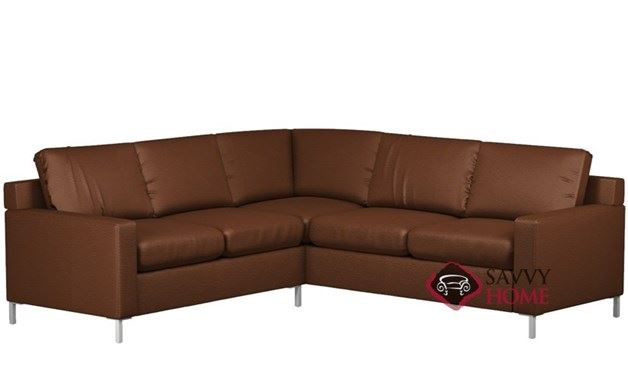 Soho II Leather True Sectional with 2-Cushion Queen Sleeper by Lazar Industries