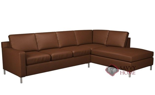 Soho Leather Loveseat Chaise Sectional with 3-Cushion Queen Sleeper by Lazar Industries