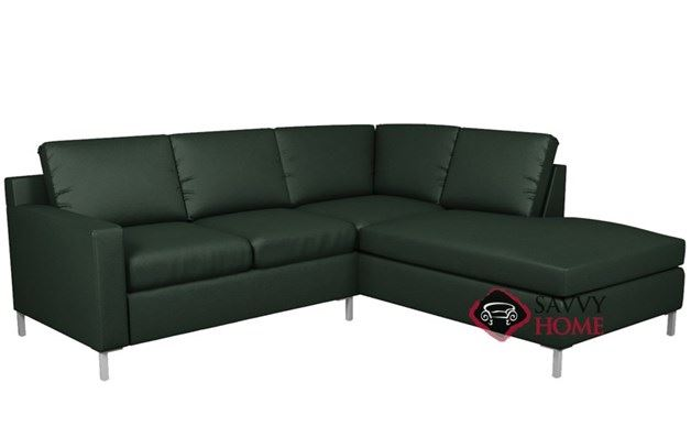 Soho Leather Loveseat Chaise Sectional with 2-Cushion Twin Sleeper by Lazar Industries