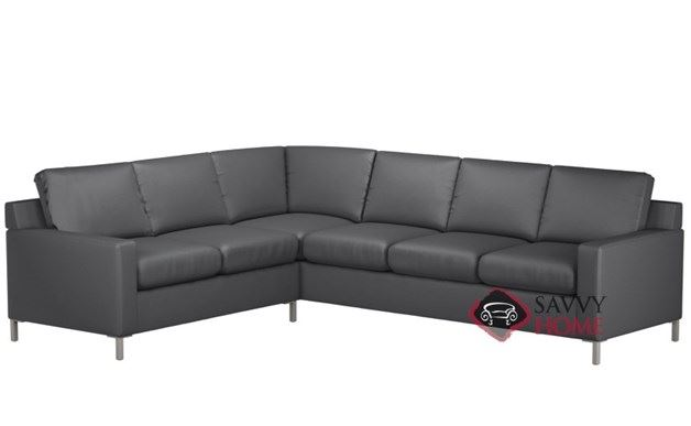 Soho Leather True Sectional with 3-Cushion Queen Sleeper by Lazar Industries