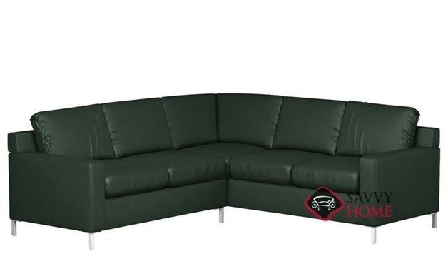 Soho Leather True Sectional with 2-Cushion Twin Sleeper by Lazar Industries