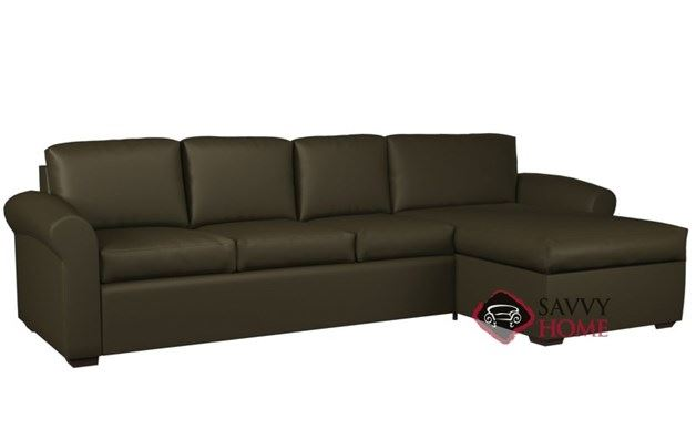 Eclipse Leather Chaise Sectional with 3-Cushion Queen Sleeper by Lazar Industries