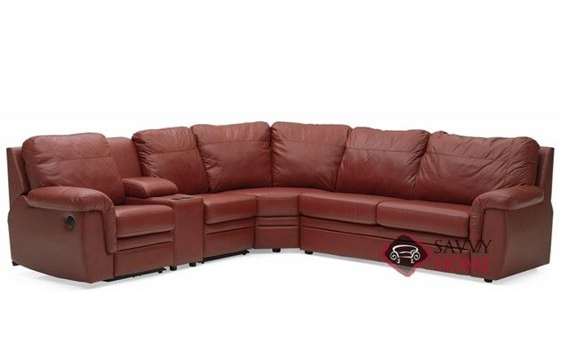 Brunswick Reclining True Sectional Leather Sleeper Sofa with Console
