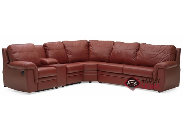 Brunswick Reclining True Sectional Leather Sofa with Console