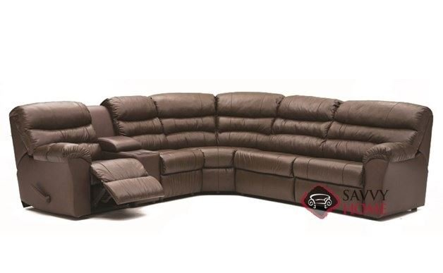 Durant Large Reclining True Sectional Leather Sleeper Sofa with Console