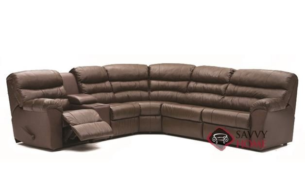 Durant Large Reclining True Sectional Leather Sofa with Console