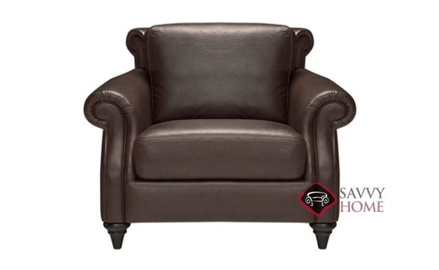 A297 Leather Chair by Natuzzi in Oregon Dark Brown