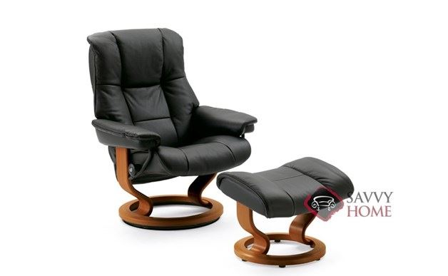 Mayfair Leather Recliner and Ottoman in Paloma Black