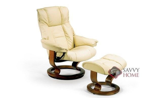 Mayfair Leather Recliner and Ottoman in Paloma Kitt (formerly Chelsea)