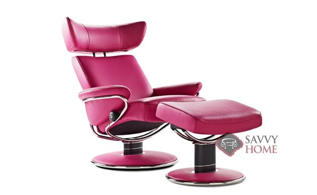 Jazz Medium Leather Recliner and Ottoman in Paloma Cerise