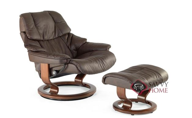 Vegas Stressless Recliner and Ottoman in Paloma Chocolate with Teak base