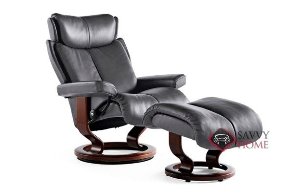Magic Large Leather Recliner and Ottoman in Paloma Rock