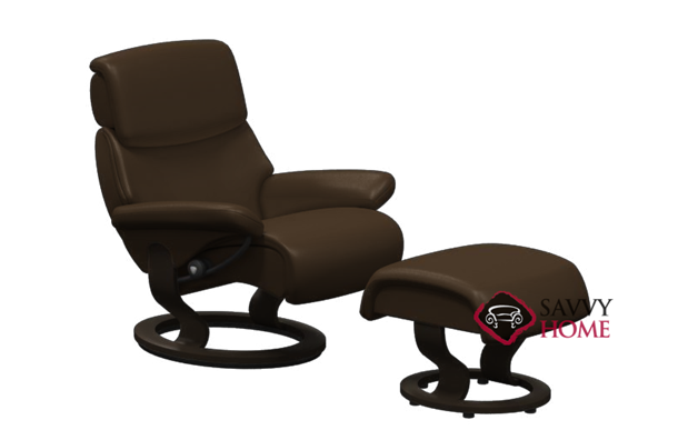 Dream Leather Recliner and Ottoman in Paloma Chocolate (formerly Spirit)